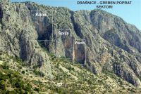 Dobili smo od lokalaca narodna imena grebena i sektora. Radovi su trenutno većinom orjentirani na greben Poprat. U Visocima (do sad smo ga zvali Žut) i Špilji za sad ima 20-ak smjerova!